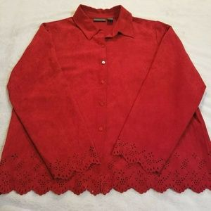 Relativity Womens XL Red Button Up Cut Out 964